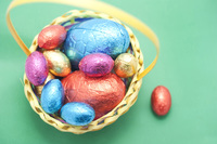 Basket easter eggs