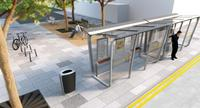 Artist impression of seating area, bicycle stands and bus shelter