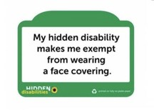 photo of badge saying my hidden disability makes me exempt from wearing a face covering