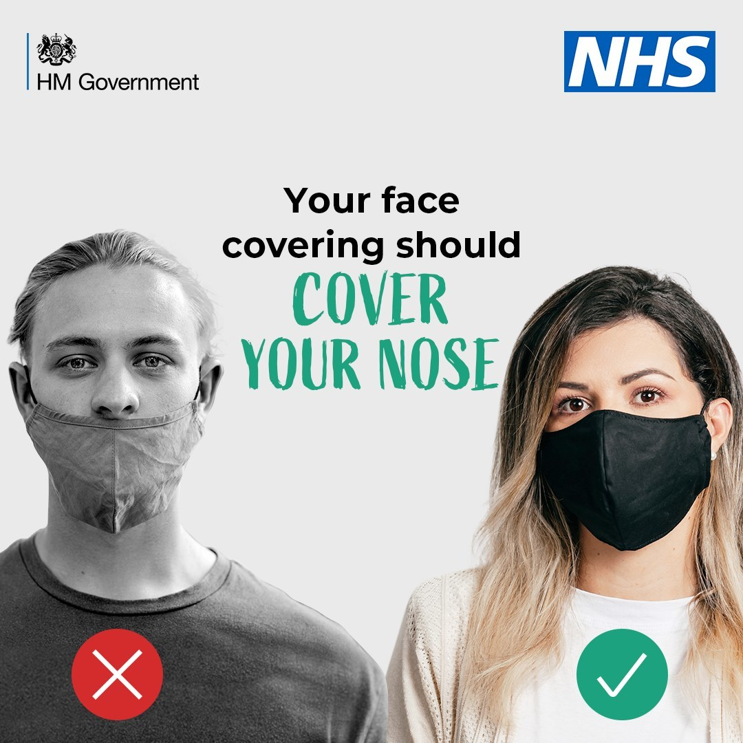 Cover your nose when wearing a face covering