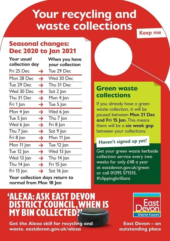 East Devon recycling and collection dates