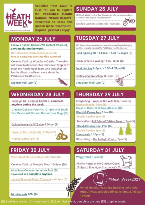 Heath Week schedule