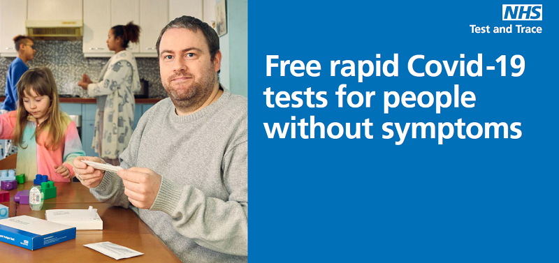 Free rapid Covid-19 tests for people without symptoms - family in with lateral flow tests