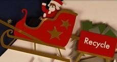 A felt Santa in a sleigh.