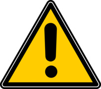 Yellow triangular warning sign with a black exclamation point in the centre