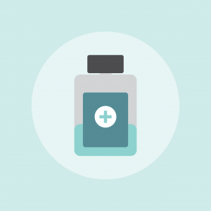 a picture of a medicine bottle against a pale blue background