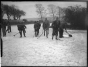 Photograph of skaters at Falmer pond,  Christmas Eve 1935