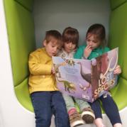 Children read book in library