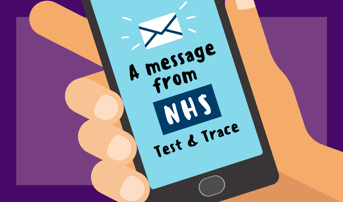 A drawing of a mobile phone with the words 'NHS test and trace'.