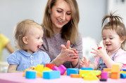 practitioner with children