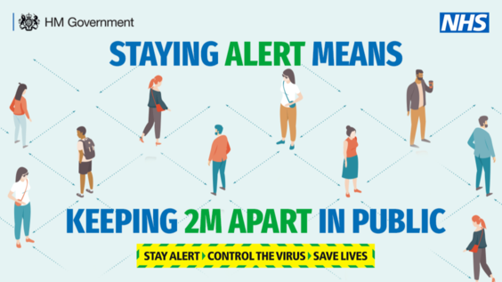 Staying alert means keeping 2M apart in public