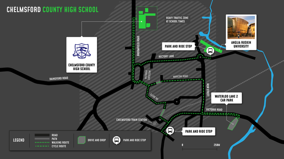 Chelmsford High School cycling and walking map