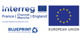 European union flag to the right of text in navy blue that says interreg and blueprint to a circular economy.
