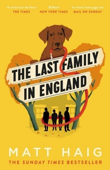 Mustard yellow book cover with a dog holding a red lead and 4 people underneath it who are shadows