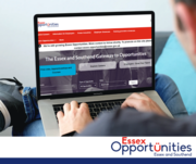 A person holding a tablet showing the Essex Opportunities website