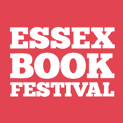 A red square with the words Essex Book Festival written on it in all capitals in white.