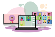 illustration of online meeting or training
