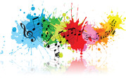 Music notes and splash of colour