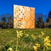 Colourful art installation in park