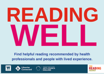 Reading Well in large bold red and pink letters on a pale blue background