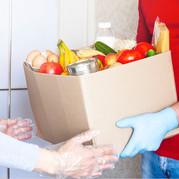 Giving food bank box