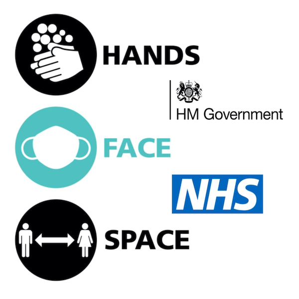 Hands, face, space Covid-19 graphic