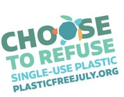 rainbow text saying plastic free july