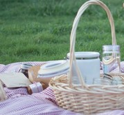 wicker picnic basked on red gingham tablecloth on the grass