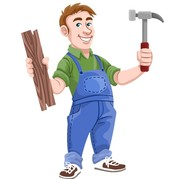 cartoon man in blue overalls holding a hammer in his hand