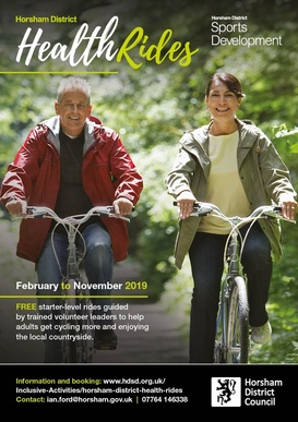Horsham Districy Health Ride poster March-November 2019 with one man and one woman riding bikes