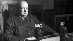 Winston Churchill giving a speech to end the war in Europe