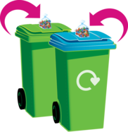 Bags of batteries on the top of a refuse bin and a recycling bin