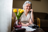 elderly lady on phone