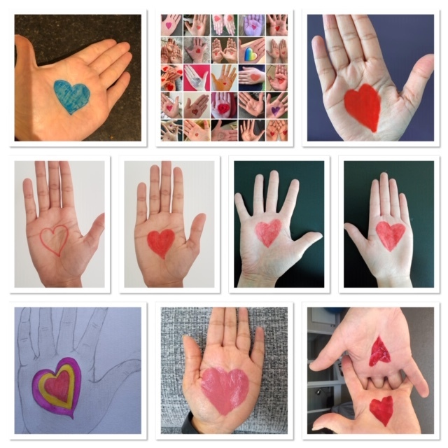 heart on hand collage