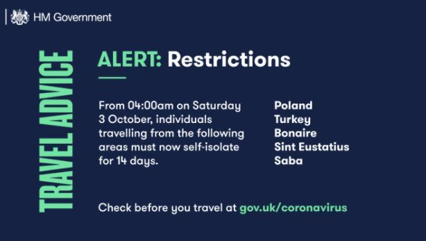 Updated travel advice and corridors