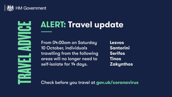 Travel update 10 October