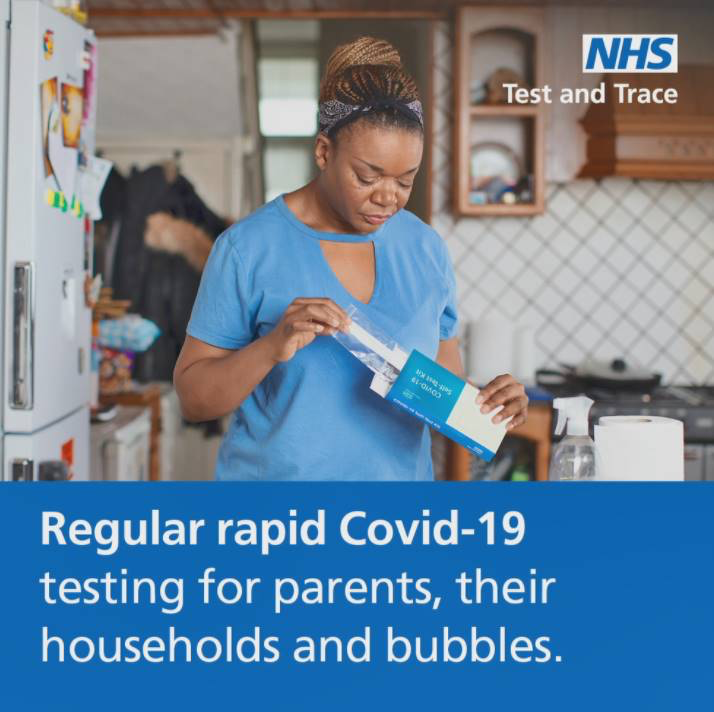 Regular rapid testing for parents, their households and bubbles