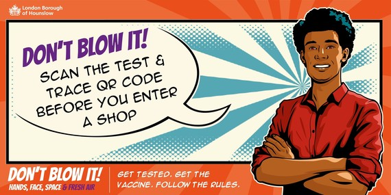 Don't blow it, scan the test and trace QR code before you enter a shop