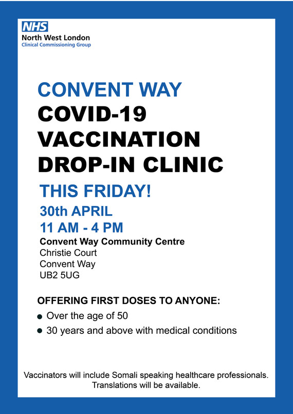 Convent way COVID-19 vaccination drop-in clinic this Friday 30 April