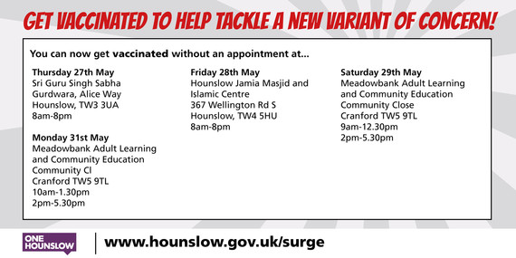 Vaccine sites Step up for Hounslow