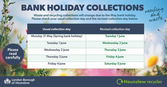 Spring Bank Holiday waste and recycling collections