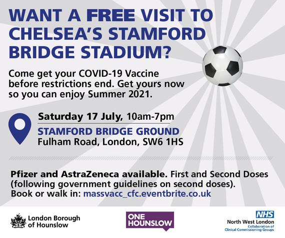 Vaccinations at Stamford Bridge this weekend