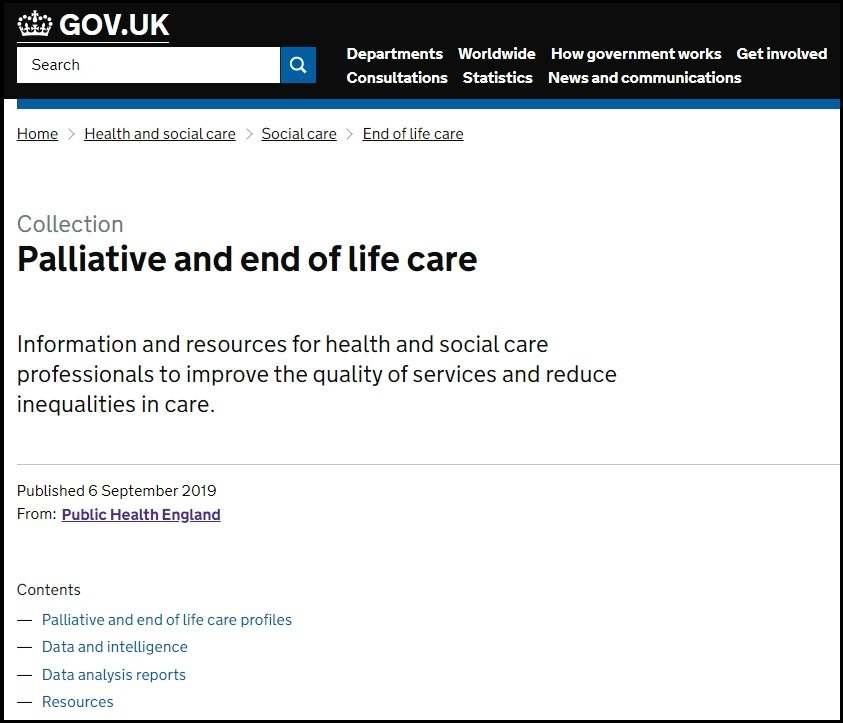 Image of Palliative and end of life care website