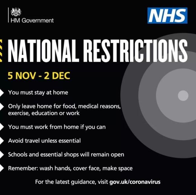 National coronavirus restrictions November 2020