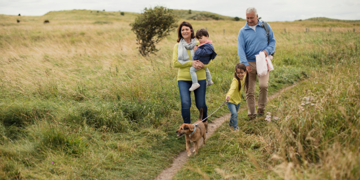 Grandparents with their grandchildren walking through fields of grass in the countryside.