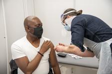 Man having a vaccine