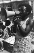 Olive Morris with megaphone
