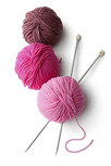 Knitting needles with wool