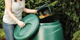 composting bin being used