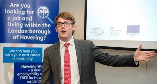 Leader at launch of Havering Works Dec 2018